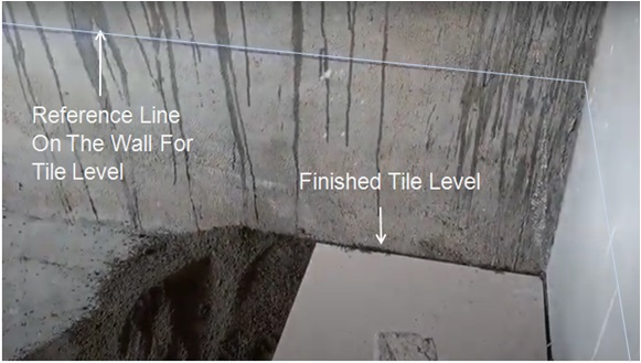 Marking The Reference Line For Ceramic Tile Installation Leveling